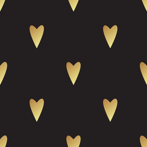 Sömlöst guldmönster med hjärtan vektor