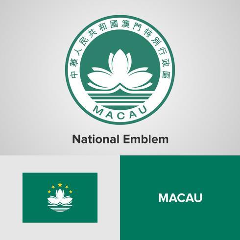 Macau National Emblem, karta och flagga vektor