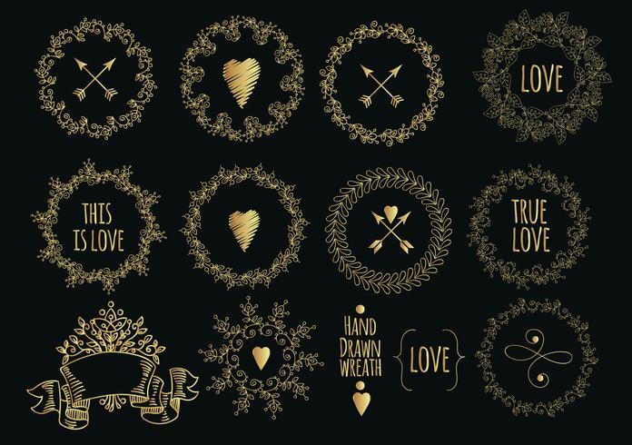 Sammlung von handgezeichneten Goldlorbeeren und Kränzen. vektor