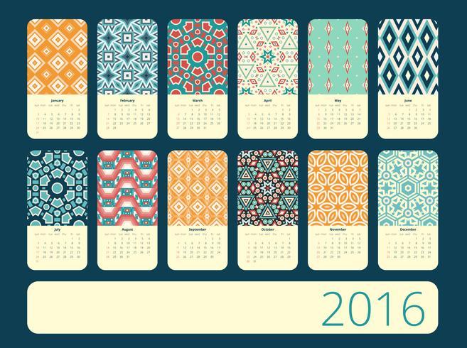 Kalender 12 månader. Geometrisk vintage mönster. vektor