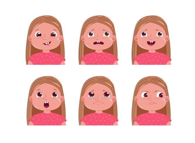 Klistermärkeuppsättning med liten tjejstjärna. Barnens ansikte är ledsen och glad och rädd. tecknad illustration vektor