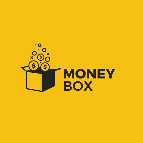 Money box logo. Prisgåva med dollar mynt illustration. Vektor