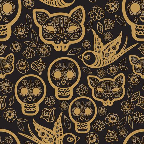 Guld sömlöst mönster Day of the Dead vektor