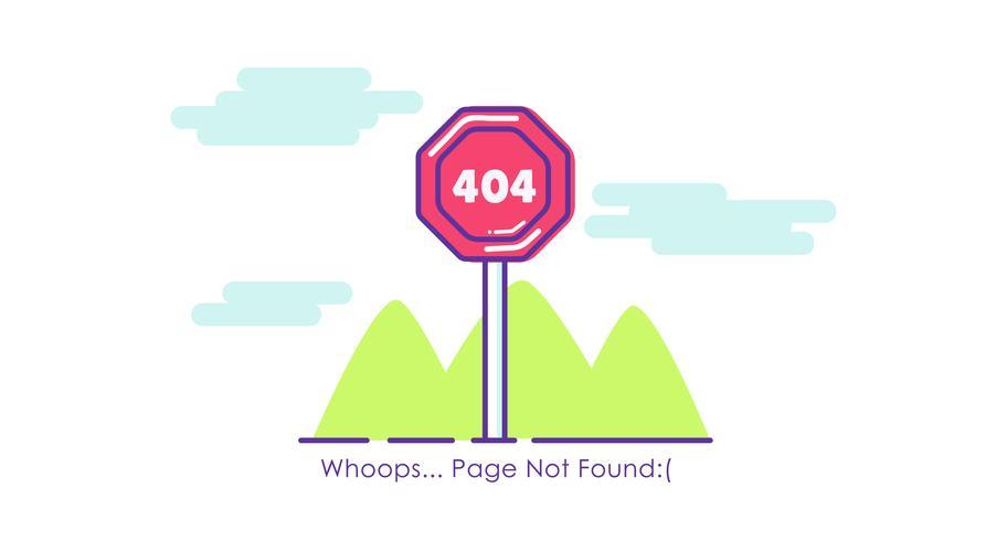 Verkehrszeichen Seite 404 Nicht gefunden. Flache Illustration vektor