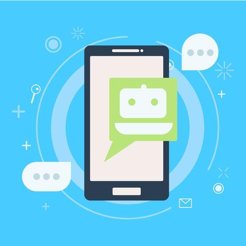 Chat bot på telefonen i handen. Baner. Vektor platt illustration