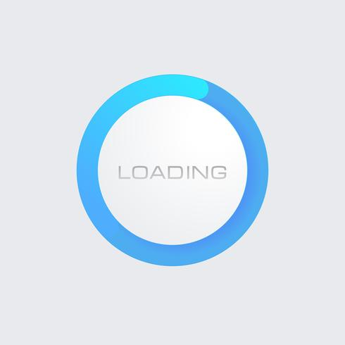 Blå Gradient Loading Bar för webbgränssnitt. Mall. platt knapp vektor