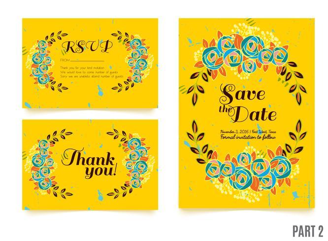 bröllop, spara datuminbjudan, RSVP och tack kort. vektor