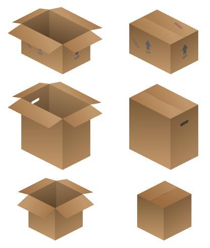 Verschiedene Versand-, Verpackungs- und bewegliche Kästen-Vektor-Illustration vektor