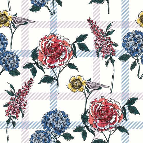Nahtloses mit Blumenmuster mit kariertem Hintergrund. vektor