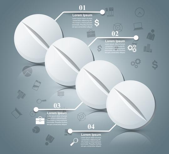 Tablettpiller, farmakologi infografisk. vektor