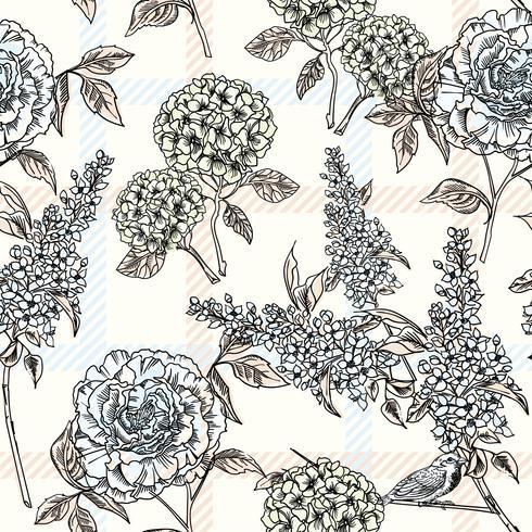 Blommigt sömlöst mönster med rutig bakgrund. vektor