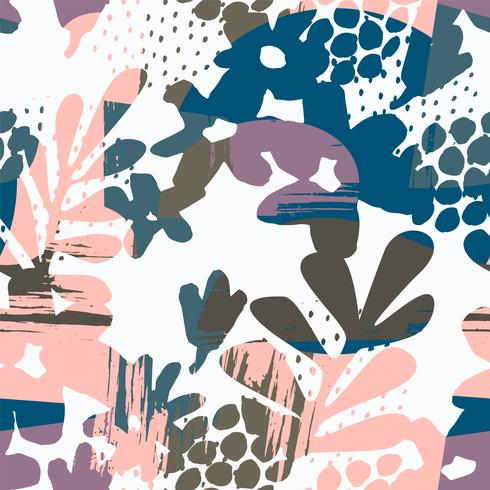Abstraktes nahtloses mit Blumenmuster mit Hand gezeichneten Beschaffenheiten. vektor