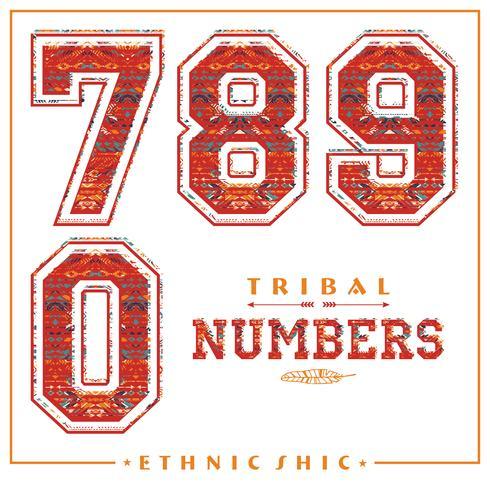 Tribal etniska nummer för t-shirts, affischer, kort och andra användningsområden. vektor