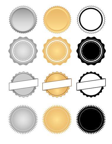 Aufkleber, Siegel, Abzeichen und Wachs-Emblem-gesetzter Vektor