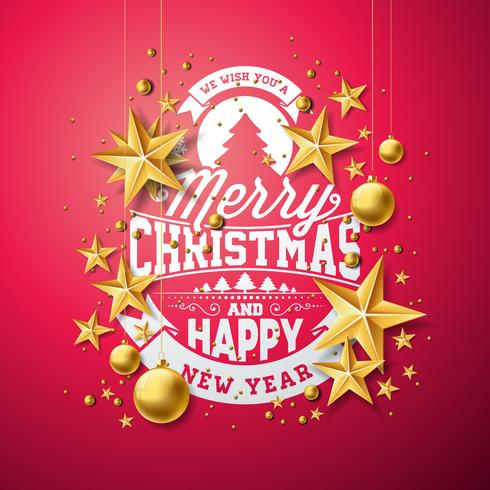 Jul och nyårs illustration med typografi vektor
