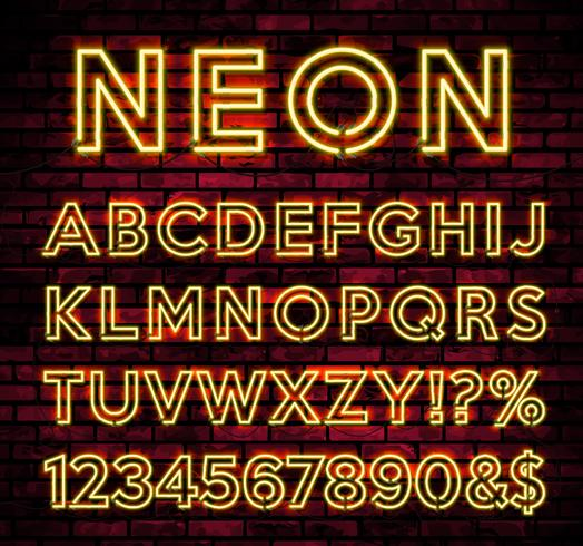 Bright Neon Alphabet på mörk tegelvägg bakgrund vektor