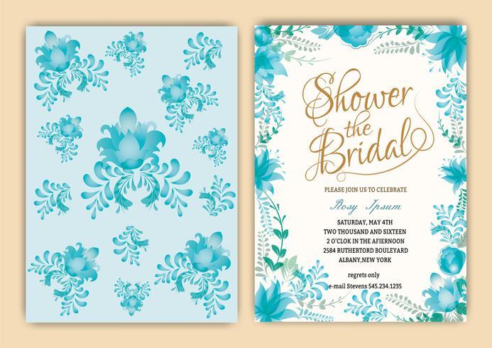 Floral Frame Bridal Shower Invitation eller Bröllopskort vektor