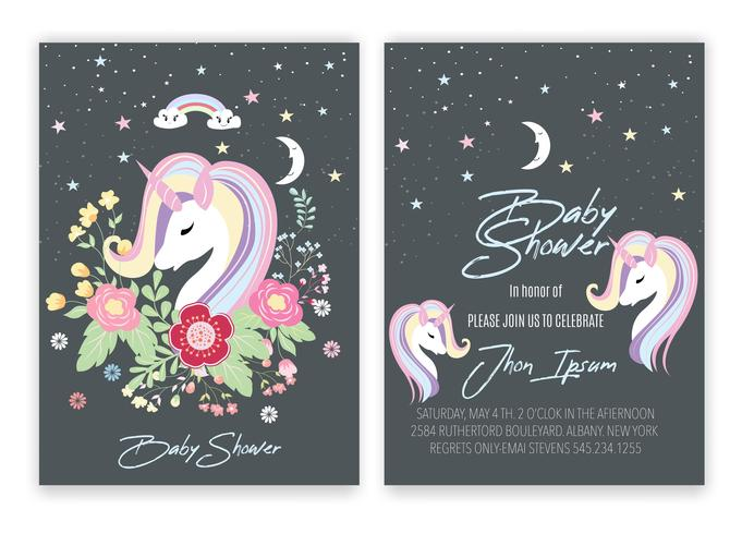 Unicorn blommig unicorn dekor kort baby shower vektor
