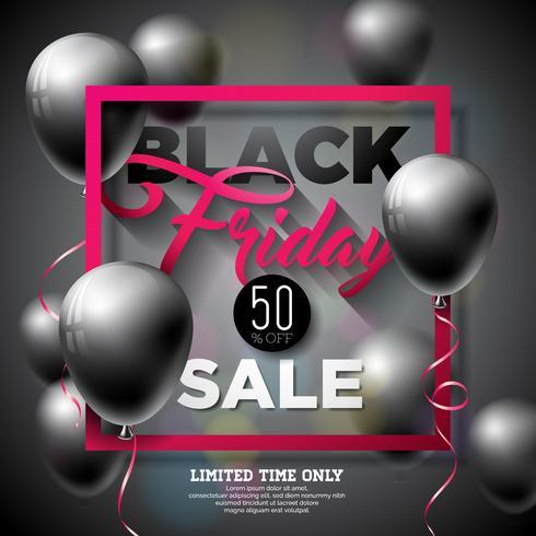 Svart Friday Sale Vector Illustration med glänsande ballonger