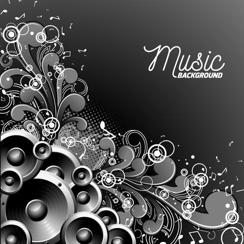 Vektor högtalare med grunge blommiga element på en mörk bakgrund.