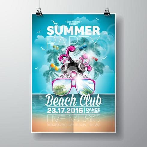Vektor-Sommer-Strandfest-Flieger-Design mit typografischen und Musikelementen vektor