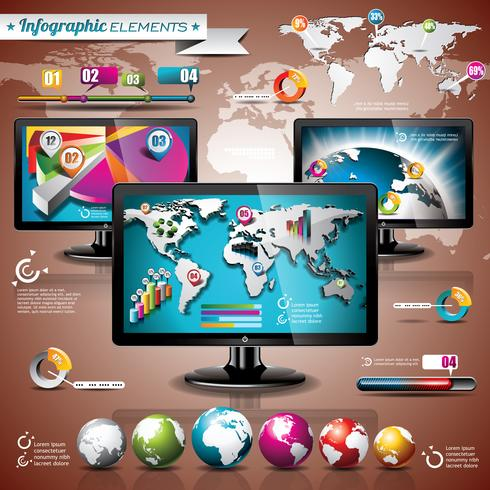 Vektortechnologiedesignsatz von infographic Elementen vektor