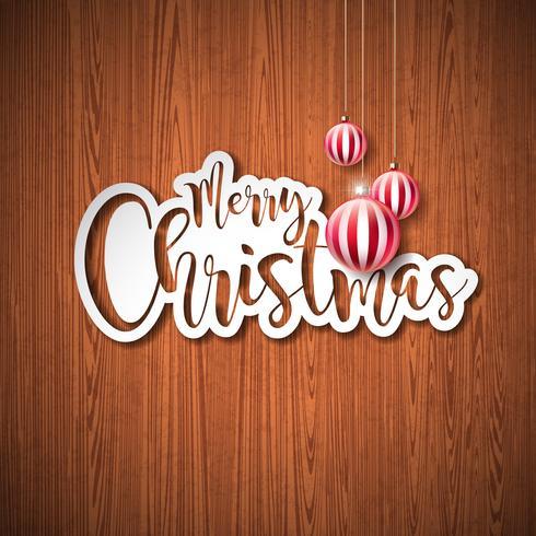 glatt jul hand bokstäver illustration vektor