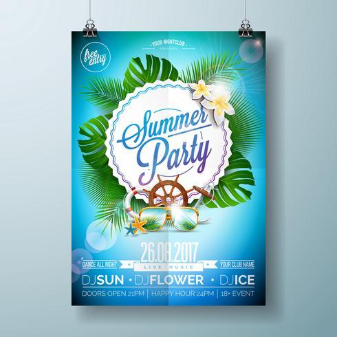 Vector Summer Beach Party Flygdesign med typografisk design