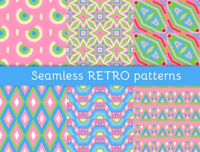 Set med sex etniska sömlösa mönster. vektor