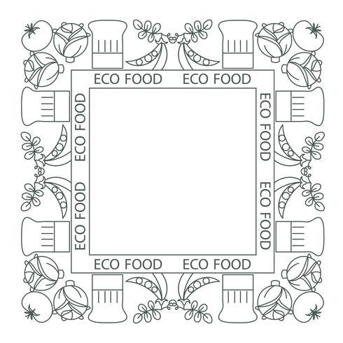 Begreppet hälsosam mat. Ram, gräns vektor