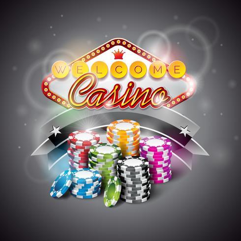Vektor illustration på ett kasinotema med färgspel chips och belysning display