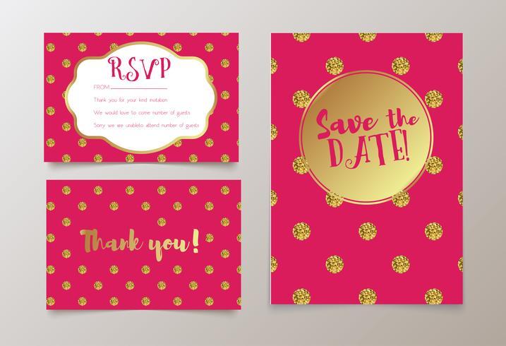 Trendy Karte für Hochzeiten, Save the Date Einladung, RSVP und Dankeskarten vektor