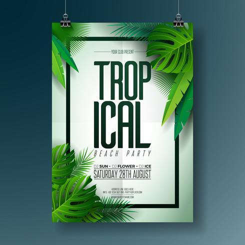 Vector Summer Beach Party Flyer Illustration med typografisk design på naturen