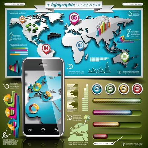 Vektor design uppsättning infographic element. Världskarta och informationsgrafik