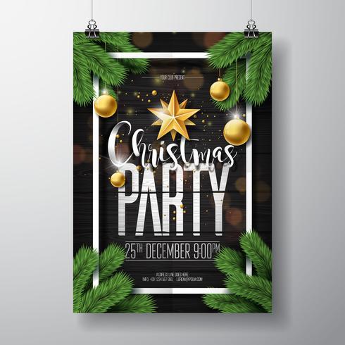 Fröhliches Weihnachtsfest-Design mit Verzierungen auf hölzernem Hintergrund vektor