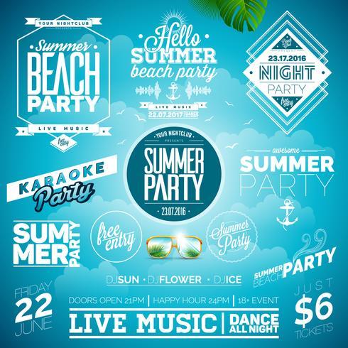 Vector Summer Beach Party Typografi Illustrationen med tecken och symboler