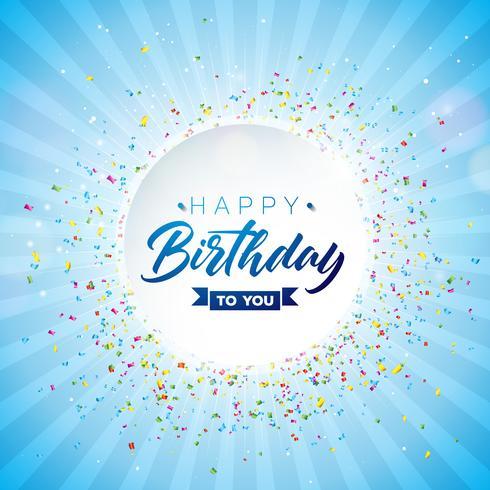 Grattis på födelsedagen vektor design med fallande konfetti