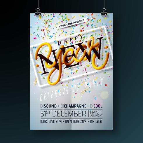 Frohes neues Jahr Party Feier Flyer Vorlage vektor