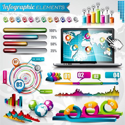 Vektordesignsatz von infographic Elementen. Weltkarte und Informationsgrafiken. vektor