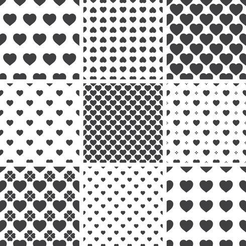 Sats monokrom geometriska sömlösa universella mönster, kakel. vektor