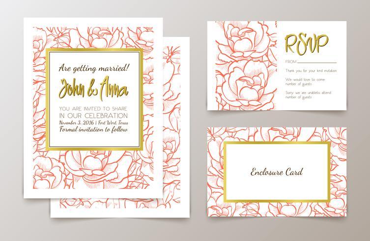 Eine Reihe von Büromaterial für Hochzeiten Einladung, vektor