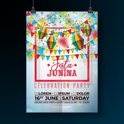 Festa Junina Party Flyer Abbildung vektor