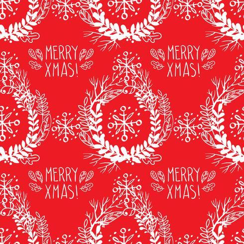 Seamless mönster av julkransar. vektor
