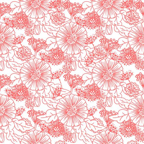 Trendy nahtlose Blumenmuster vektor