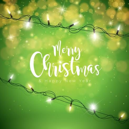 Frohe Weihnachten Illustration Holiday Light Girlande vektor