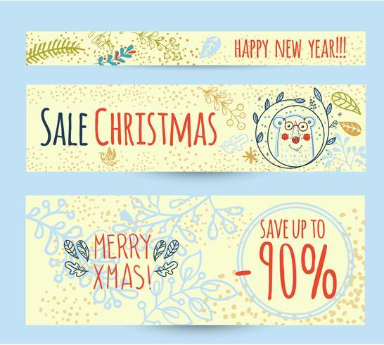 Julförsäljning mall webb banner vektor