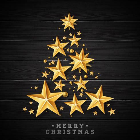 Jul och nyår illustration med julgran vektor