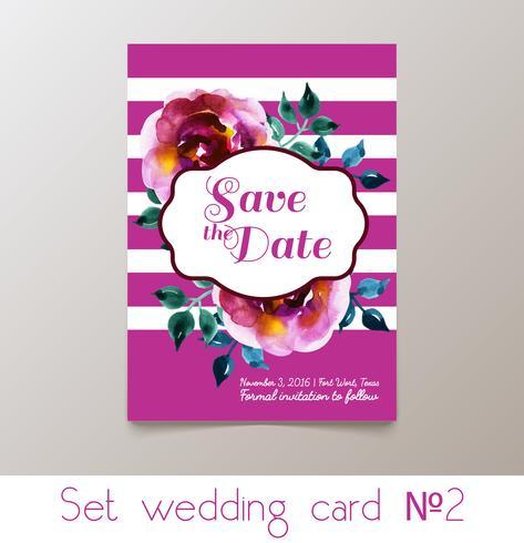 En uppsättning bröllop inbjudan vektor