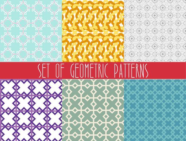 Trendig geometrisk sömlös mönsteruppsättning. vektor