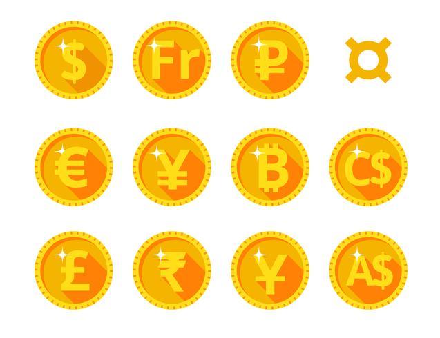 Guld ikoner för världsvaluta vektor